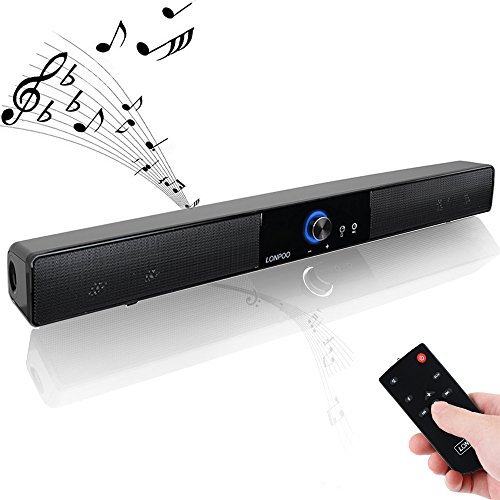 LONPOO 20 pouces 10W mini enceintes USB barre de son haut-parleur de musique de cinéma à domicile pour TV, PC,Iphone (Noir)