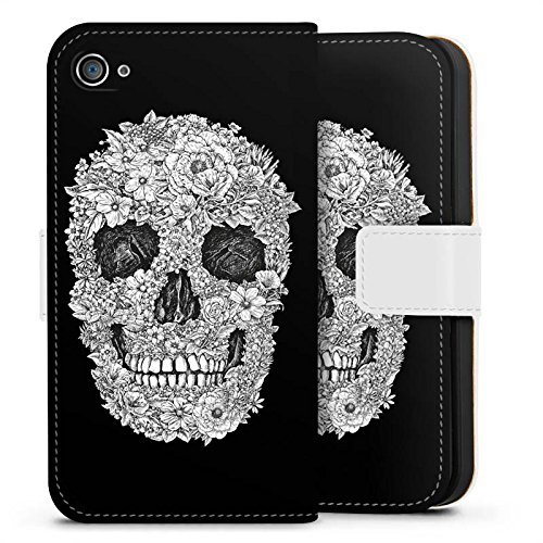 Apple iPhone 8 Tasche Hülle Flip Case Totenkopf Skull Blumen Sideflip Tasche weiß