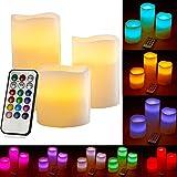 3er Set Romantische LED Kerzen - 4' / 5' / 6' hoch - dekorative und stromsparende Farbwechselkerzen flammenlose kerzen