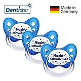 Dentistar® Schnuller 3er Set- Nuckel Silikon in Größe 2, 6-14 Monate - zahnfreundlich & kiefergerecht - Beruhigungssauger für Babys - Nachtschwärmer