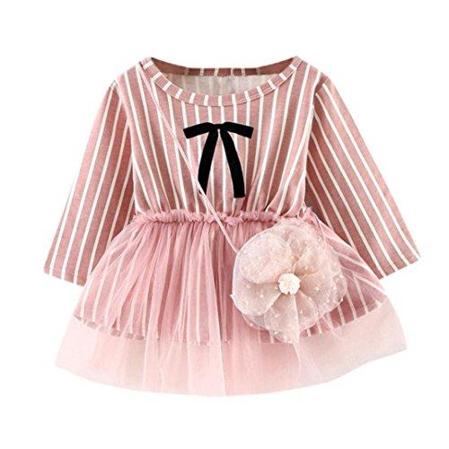 Hffan Kleinkind Kleine Niedlich Streifen Bogen Lange Ärmel Prinzessin Kleid + Klein Tasche Rock Neugeborenen Tutu Kleid (0-24 Monate) (12 Monate, rosa) (Bankett-tasche)