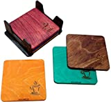 #10: B Square Set of 6 Handcrafted Natural Wood Coaster BSCO010