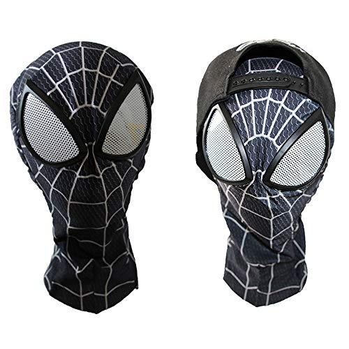 n Kostüm Cosplay Anime Kostüm Halloween Spiderman Kostüm Kopfbedeckung (Schwarz) XXL ()