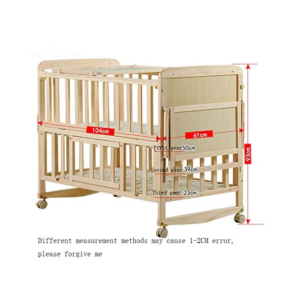 QINYUN Crib Solid Wood Unpainted Crib Baby Bed Cradle Multifunctional Stitching Bed,D QINYUN 1. Wear-resistant, corrosion-resistant, fine texture, hard wood and strong stability. 2. Large bed needles are convenient for mothers to feed. 3. Game fence, baby's game world, can also walk easily. 3
