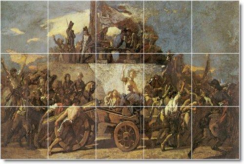 THOMAS COUTURE BACKSPLASH HISTORICA DEL MURAL CON 36 X 152 4 CM 25  (15) 12 X 12 AZULEJOS DE CERAMICA
