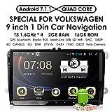 hizpo Android 7.1 Quad Core 2GB 16GB Einzel-Din Autoradio Stereo GPS für VW Golf Passat DAB + GPS Aux WiFi Subwoofer FastBoot Mirrorlink OBD2 Bluetooth