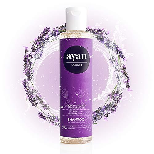 AYAN Naturkosmetik Shampoo für trockene Haare ohne Silikone, Parabene und Sulfate 200 ml - mit Lavendel und Arganöl
