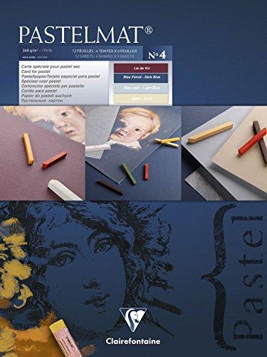 Clairefontaine - Blocco Pastelmat, 30 x 40 cm, colore: blu scuro/azzurro/vinaccia/sabbia