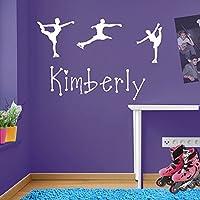 Adesivi da parete, motivo: pattini per pattinaggio su ghiaccio, personalizzabile, wall art per bambina, rimovibile, Vinile, bianco, large