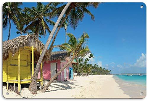 RABEAN Beach Hut Blechschilder Aluminium Schilder Eisen Malerei Blech Plakat Warnung Plakette hängende Kunst Plakate Dekorative Cafe Bar