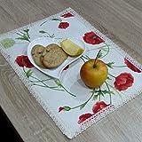 HomeAtelier Tischsets, das Beste Geschenk für die schönste Küche, Roter Mohn, Rechteckige Platzsets 40x28cm, Schönen Platzdeckchen