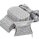 Caja de regalo Candy de papel Kraft, caja de almohadas para bodas, fiestas de cumpleaños, 50 unidades, plata, Silver Box