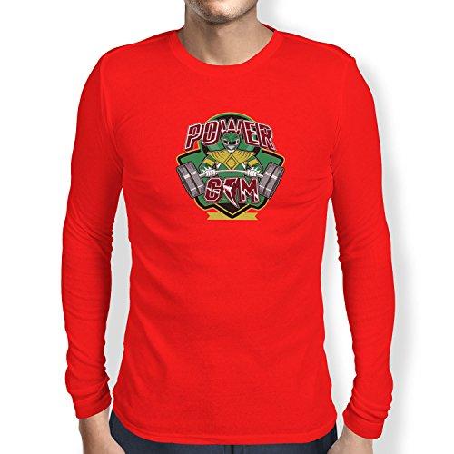 Texlab Power Gym - Herren Langarm T-Shirt, Größe M, - Rot Fury Jungle