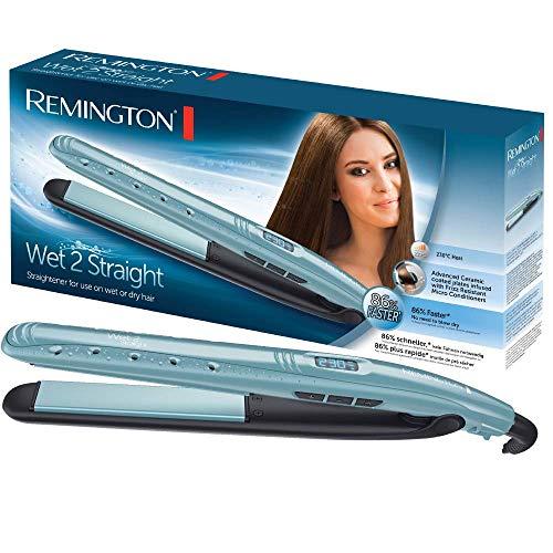 Remington Wet 2 Straight S7300 - Plancha de Pelo, Cerámica, Digital, para el Cabello Seco y Húmedo, Azul Claro