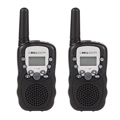 GuDoQi® Walkie Talkies Enfants Longue Portée 8 Canaux Radios Bidirectionnelles Avec Éclairage LED 2 Pcs Noir