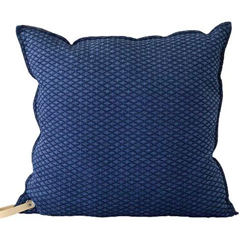 Time Concept Enrich genähtes Denim-Kissen mit Riemen - Marineblau - Überwurf Couch-Kissen, Dekokissen, Sofa Kopfstütze, Home Decor Navy - 18