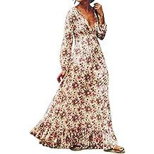 vestidos de mujer,Switchali Mujer Retro Palacio Impresión floral mangas Largo Fiesta Nocturna maxi Vestir Bohemia Largo vestido de playa ropa mujer nuevo 2017 barato