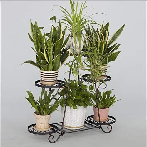 CXQ Europäische Retro Schmiedeeisen Blumenständer Balkon Indoor Disc Sechsschicht Blumenständer -