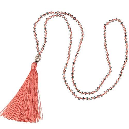 KELITCH Schmuck Kristall Bead Schnur Kette Lange Damen-Halskette Mit Silber Buddha Kopf & Quaste Anhänger - Farbe Hell Orange
