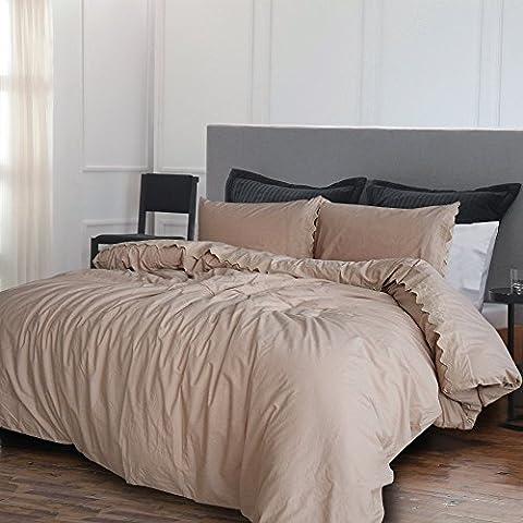 Merryfeel 2-3 teilige Bettwäsche Bettgarnitur, 100% Baumwolle gestickte Spitze Bettbezug & Kissenbezüge,4 Größen 6 Farben - Khaki 137x200cm