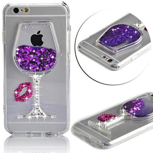 """iPhone 6 Plus 5.5"""" Étui Coque silicone?iPhone 6S Plus TPU Transparente Ultra-Fine Dessin TPU Slim Bumper pour iPhone 6 Plus Souple Housse de Protection Flexible Soft Case Cas Couverture,Vandot iPhone  Verre à vin-Purple"""