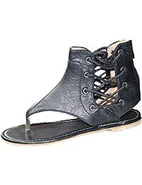Bevalsa Damen Sandalen Casual Flache Badesandale Schuhe Rutschfeste Römer Peep  Toe Kreuzgurt Reißverschluss Flip-Flops… b7463db35b