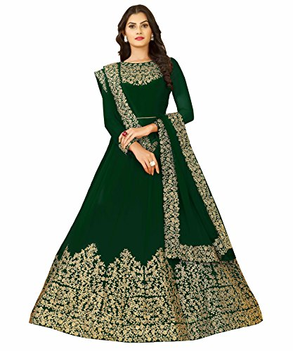 FFASHION Women's Faux Georgette Self Design Semi Stitched Embroidery Salwar Suit Duppata Material - Free Size Anarkali Long Gown
