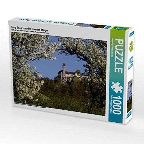 burg-teck-von-der-owener-steige-1000-teile-puzzle-quer-blick-durch-bluhende-obstbaume-auf-die-burg-t