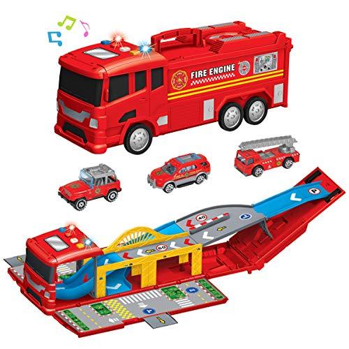 YIMORE Jouets de Camion de Pompier, Grand Garage Assemblé Piste Parking, Circuit Voiture Enfant avec 3 camions, Cadeau Educatif pour Enfants 3 4 5 6 Ans