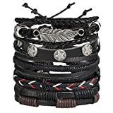 Shining Diva Fashion Multi Strand Bracelet for Men (Black)(9904b)