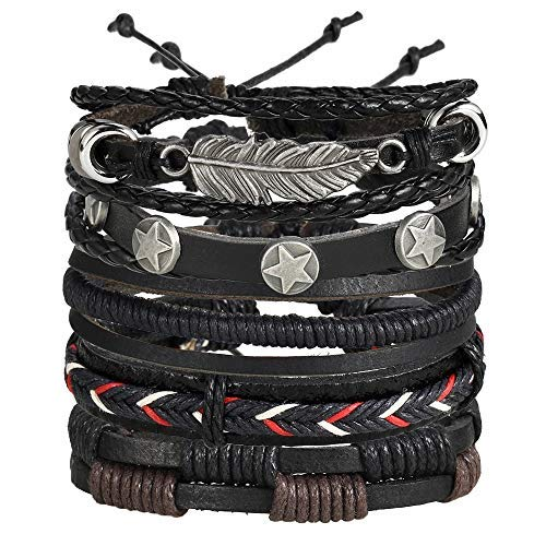 Shining Diva Fashion Multi Strand Bracelet for Men (Black)(9904b)