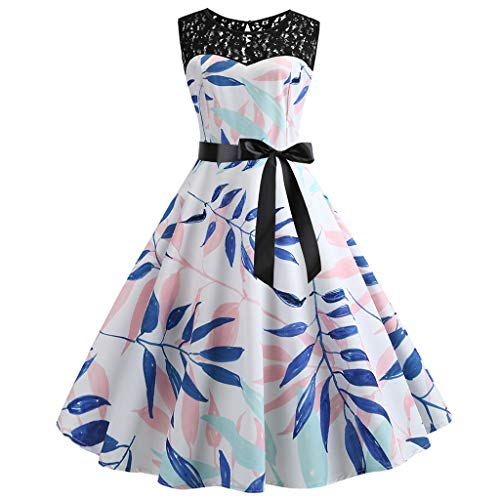 Women's Butterfly Print Sleeveless Dress Vintage Swing Lace Dress Butterfly Scarf Scarves Costume Blouse Skirt/Rosa,2XL Butterfly Sleeveless