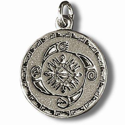 Zinn-Amulett Medizinrad mit Achat-Schutzstein und Erklärungskarte