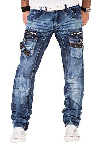 Kosmo Lupo Herren Jeans Denim Hose Japan Style Vintage Clubwear Chino Used Blau (W38/L34)