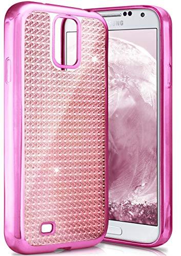 ONEFLOW Samsung Galaxy S4 | Hülle Glitzer Pink Silikon Shiny Back-Cover Silikonhülle Glitter Schutzhülle Ultra-Slim Case für Samsung Galaxy S4 / S IV Handy-Hülle Dünn Tasche (Galaxy Cases 4s Phone Bling)
