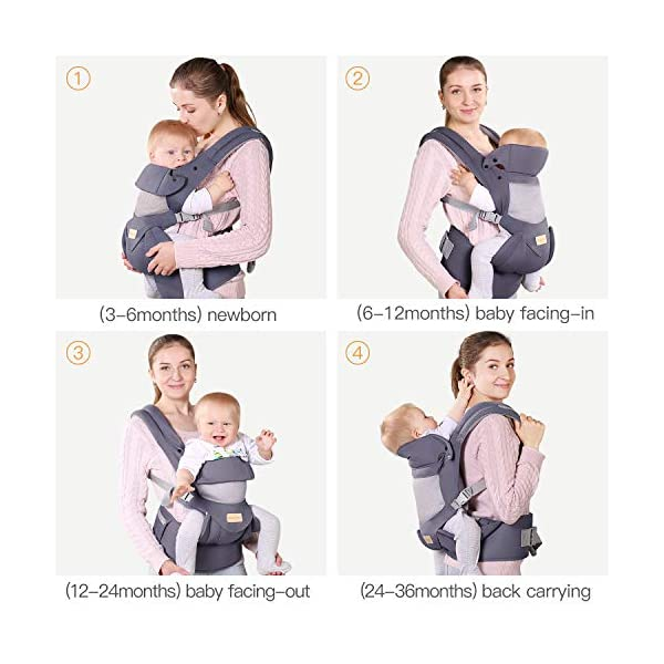 Infant Toddler Baby Carrier Wrap Backpack Front and Back, Hip Seat & Hood, Soft & Breathable Cotton, Cool Air Mesh, Grey tiancaiyiding ❤ Ergonomic Design: Wide and thick backpack straps help relieve stress . Easy to put on or take off. ❤ M shape Position: Stop hurting your baby's legs. Keep blood circulation in normality. ❤ All-round Support: Simple and thus strong structure. 360° wraps the baby against falling out. Collapsible hood for wind and sun protection 3