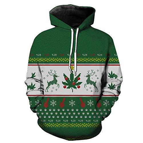 FRAUIT Hooded Sweatershirt Herren Weihnachten Herbst Winter 3D Weihnachten Print Langarm-Kapuzen-Sweatshirt Top Herren Sweatshirt Pullover Pulli Mit Rundhalsausschnitt
