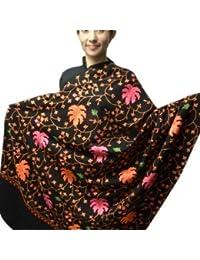 Varun Cloth House Women's Woollen Kashmiri Aari Embroidery Shawl (vch267_Black_Free Size)