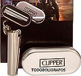 Clipper–Gas-Feuerzeug, wiederaufladbar Grande modello da 7,5 cm Argent brossé