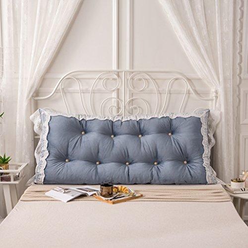 MMM- Coussin de lit de dentelle de coton Coussin de lit de chevet de grand coussin ( Couleur : Bleu saphir , taille : 150*75cm )