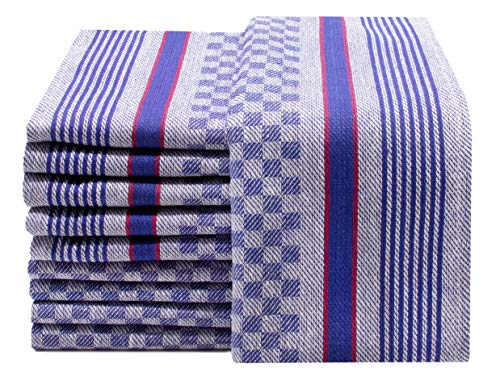ZOLLNER 10er Set Geschirrtücher Baumwolle, blau-weiß-kariert, 45x90 cm