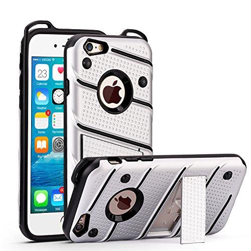 iPhone 6 6s Hülle, ocketcase® Rugged Stoßfest TPU & PC Hybrid Schutzhülle Tasche Case Cover Rüstung Plastic Bumper mit Kickstand für iPhone 6 6s - Silber (6 Iphone Hybrid-rüstung Fällen)