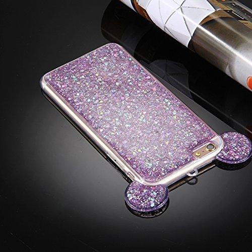 Pour iPhone 6 Plus / 6s Plus, Glitter Powder Mouse Ear Soft TPU Housse de protection avec trou Sling JING ( Color : Purple ) Purple