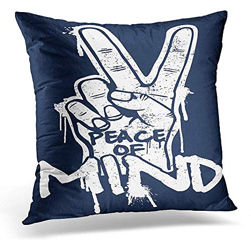 Starogs Kissenbezug Hand mit Peace-Zeichen Hipster Kreative Grafitti Dekorative Kissenhülle Home Decor Quadratischer Kissenbezug 20 x 20 inches Pattern -
