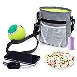 Enjoyfeel Dog Treat Bag mit integriertem Poop Bag Dispenser, Puppy Pet Training Walking Pouch mit verstellbarem Hüftgurt & Schultergurt (Grey)