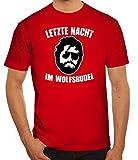 Junggesellenabschieds JGA Hangover Herren T-Shirt Letzte Nacht im Wolfsrudel, Größe: L,rot