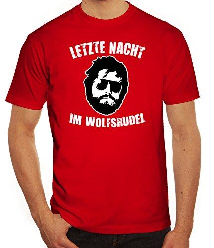 Junggesellenabschieds JGA Hangover Herren T-Shirt Letzte Nacht im Wolfsrudel Rot