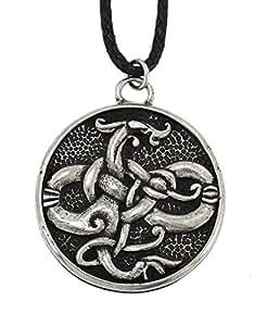 Fait à la main Courtney Davis Viking Gotland Serpent étain pendentif collier pour la sagesse et de connaissances