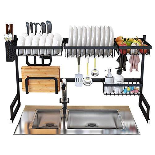 Escurreplatos de acero inoxidable para colocar sobre el fregadero, estante de almacenamiento para utensilios de cocina, estante de almacenamiento de 85 cm (negro)