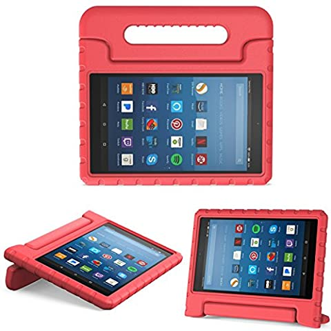 MoKo Case for All-New Amazon Fire HD 8 Tablet (7th Generation, 2017 Release Only) - Kids Shock Proof Convertible Handle Light Weight Super Protective Stand Cover for Fire HD 8,